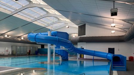 The flume and pool at the Waveney Valley Leisure Centre in Bungay, East Suffolk.