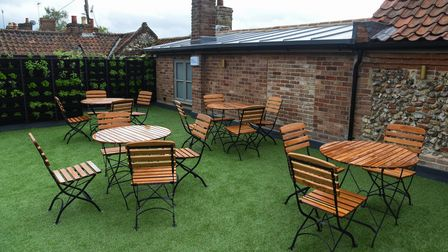 Outdoor seating on the terrace at The Ostrich Inn on Fakenham Road in South Creake. Picture: Daniell