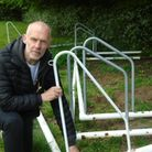 Chairman of Hethersett Athletic Football Club, Neal Luther, showing the recent vandalism
