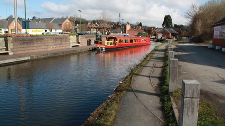 Montgomery Canal: tracks used to serve Welshpool canal maintenance yard