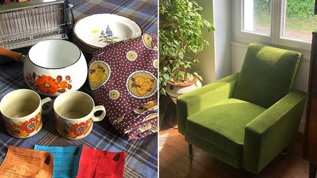 Laura's bargain finds: a comfy vintage armchair and colourful crockery from charity Emmaus