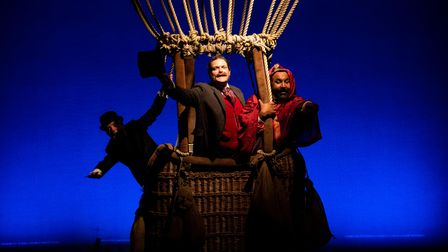 The balloon flight in Around The World in 80 Days at the Theatre Royal Bury St Edmunds the first theatre to reopen in Suffolk