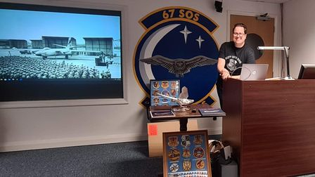 Ian Brown at Mildenhall carrying out a presentation for the 67th SOS who fly the Hercules most nights over Fakenham.
