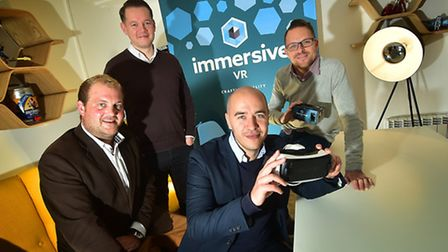 Immersive VR. Left to right, Paul Emery, James Burrows, Matthew Martin and Steve Bjorck. Picture: AN