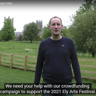 Screen shot of Chris Parsons in Ely Arts Festival crowdfunder video
