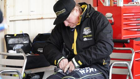 Jason Crump in the pits at King's Lynn ahead of the meeting.