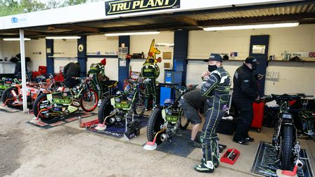 Riders getting ready ahead of the clash against the Belle Vue Aces.