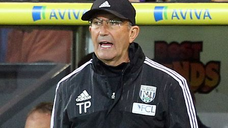 West Brom manager Tony Pulis during the Capital One Cup match at Carrow Road, Norwich. Picture by Pa
