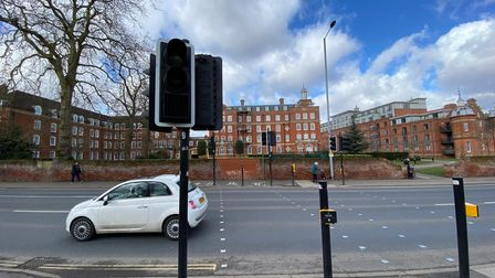 The traffic lights where St Stephens Road branches into Newmarket Road and Ipswich Road, outside the