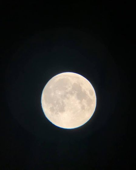The Super Flower Moontaken fromMartham at 10:15pm on Tuesday, May 25 using a 70AZ telescope