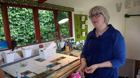 Louise Ferrier at work in her studio. Suffolk Open Studios allows the public an opportunity to meet the artist