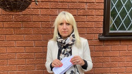 Helen Caswell of Swannington is pictured with her parking fine letter