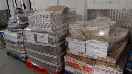 The pallets of supplies ready to be shipped to St. Vincent and the Grenadines