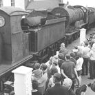 The first arrivals at the old Sheringham Station following its closure as a British Rail site roll i