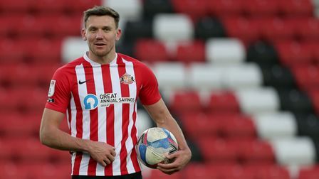 Sunderland's Charlie Wyke with the match ball after the Sky Bet League One match at the Stadium of L
