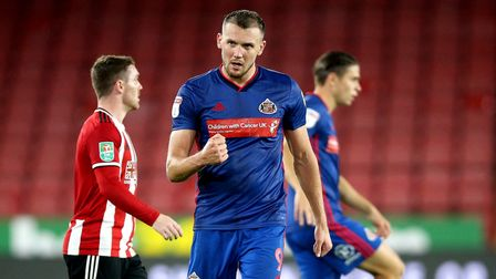 Sunderland's Charlie Wyke celebrates after the final whistle during the Carabao Cup, Third Round mat