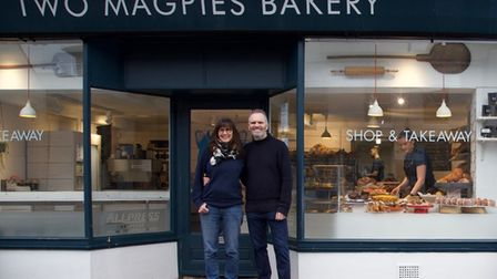 Two Magpies owners Rebecca Bishopand Steve Magnall outside one of their bakeries