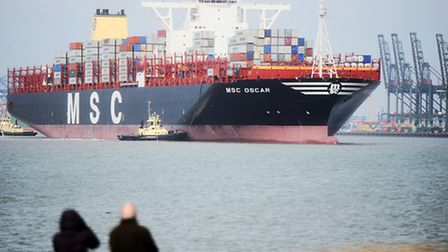 World's biggest container ship MSC Oscar arriving at Port of Felixstowe.
