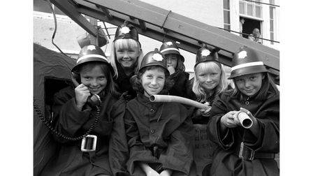 Young firefighters on a float atAldeburgh Carnival in August 1975