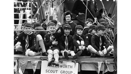 Halesworth Scout Group at the town's carnival in June 1972