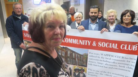 Cathy Bracken and her protest delegation to the town hall in 2018 to save Wapping pensioners' club
