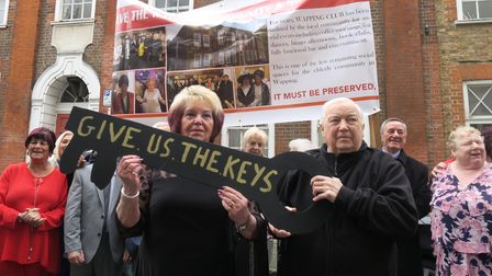 Kathy's protest outside Raine's House after having their keys taken away