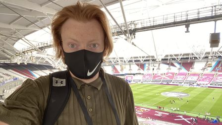 Reporter Jacob Ranson covering a match at London Stadium behind closed doors