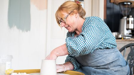 Nancy Main at her potter's wheel. Picture: Sarah Lucy Brown
