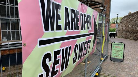Parker Technical Services, DJ Oakley Scaffolding and Nationwide, brought a sign for Sew Sweets in Fakenham.