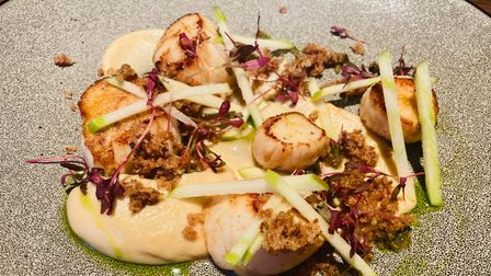 Seared scallops with celeriac puree, apple and crispy pancetta at The Crown and Castle