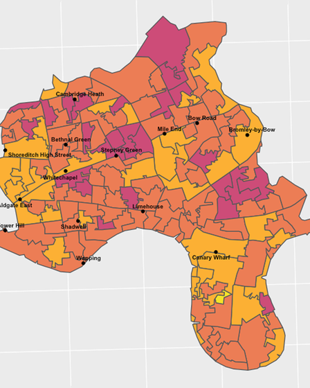 Tower Hamlets... the London borough facing highest gentrification - light areas where effect is greatest