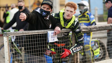 Team manager Ritchie Hawkins and Anders Rowe pictured ahead of heat 11.