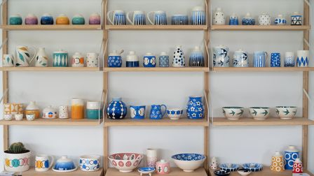 Ceramics by Victoria Reed on display in her Hadleigh studio