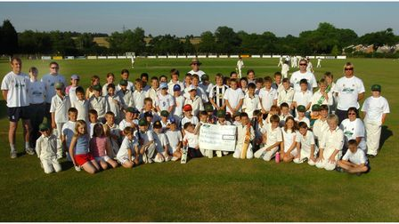 Young cricketers at the Victory Ground in Bury St Edmunds who received a Sportsmatch cheque in 2006