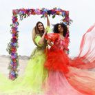 Striking fashion shoot at Happisburgh beach featuring the work of Norfolk fashion students.