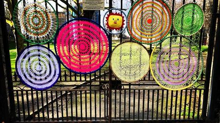 """""""Dream circles"""" on the gates of Abbey Ruins in Barking."""