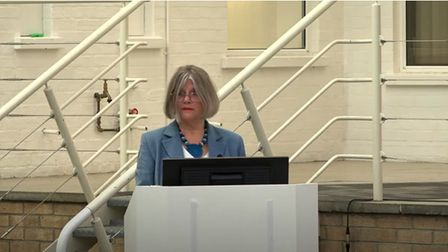 Mid Suffolk District Council leader Suzie Morley at the 2021 annual meeting held at Wherstead Park