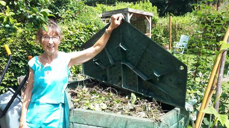 Norfolk Master Composter, Bee Springwood with her compost heap