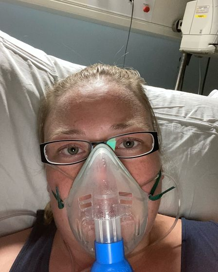 Linsey McFarlane while she was in the Norfolk and Norwich University Hospital with coronavirus in April 2020.