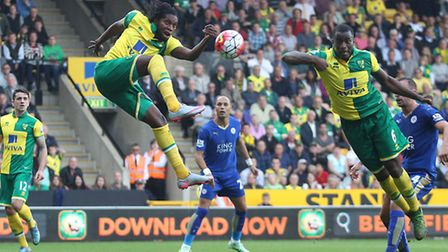Dieumerci Mbokani scored his first Norwich City goal in the Canaries' 2-1 Premier League defeat to L