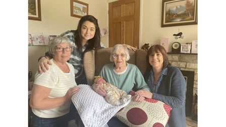 Five generations - Gwen Ladd, Sarah Brown, Edith Stannard, 103, with baby Rayn Rose, and Teresa Mayhew
