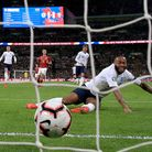 England's Raheem Sterling scores in a Euros qualifying match. Where will you be watching the tournament from?
