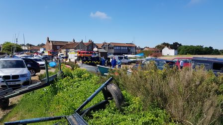 Rescue teams were called to Brancaster Staithe to deal with a boat fire near Scolt Head Island