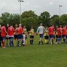 The two teams coming out of the tunnel prior to kick off in the Charity Game
