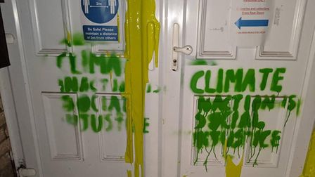 Paint thrown over the doors of Alex Wood Hall, Cambridge Labour Party's HQ