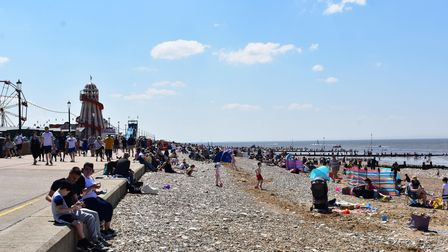 Visitors pack the beach at Hunstanton.