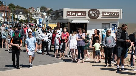 Huge queues for fish and chips lined the prom in Felixstowe. Picture:Sarah Lucy Brown