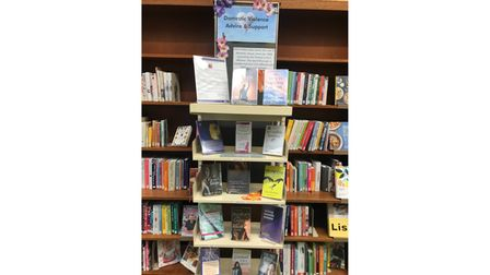 Section of books at library