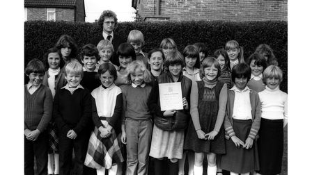 The choir at Sprites Junior School, Ipswich, with their Suffolk Music Festival certificate of distinction in October 1980
