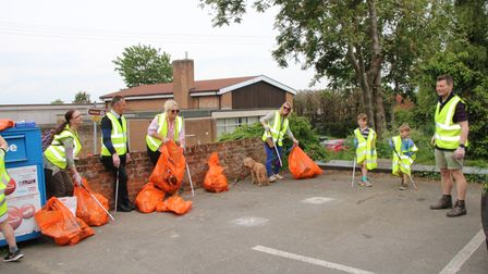 Right at Home Bishop's Stortford & Braintree staff and family members taking part in a Dunmow litter pick.